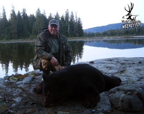 Ken's bear was awesome. Great hide and over 6 feet. Can you see the little black dot behind him? That's Brad and the bear that was killed just a few minutes earlier.